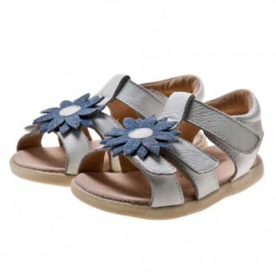 Little Blue Lamb - Scarpine suola morbida - ragazza | Sandali beige flore blu