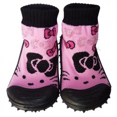 Scarpine calzini antiscivolo bambini - ragazza | Nero e rosa