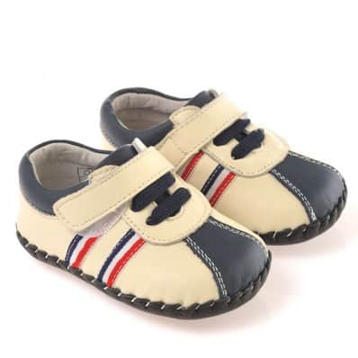 CAROCH - Baby boys first steps soft leather shoes | White red blue sneakers