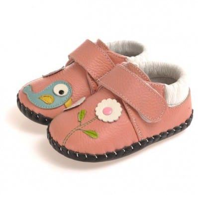 CAROCH - Krabbelschuhe Babyschuhe Leder - Mädchen | Rosa blauer Vogel