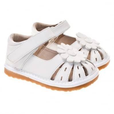 Little Blue Lamb - Zapatos de cuero chirriantes - squeaky shoes niñas   Blancos perforada