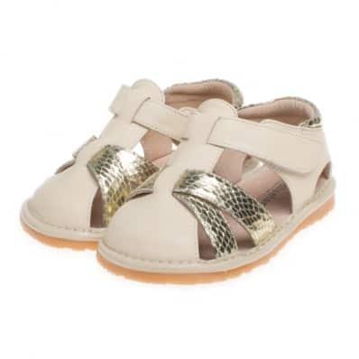 Little Blue Lamb - Zapatos de cuero chirriantes - squeaky shoes niñas | Sandalias crema doradas