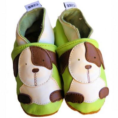 Krabbelschuhe Babyschuhe geschmeidiges Leder - Junge | Kleine Hunde