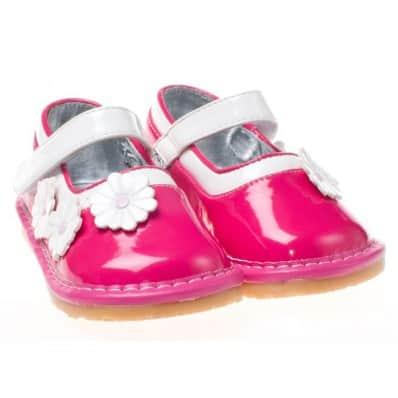 Little Blue Lamb - Chaussures à sifflet | Babies rose fleur blanche