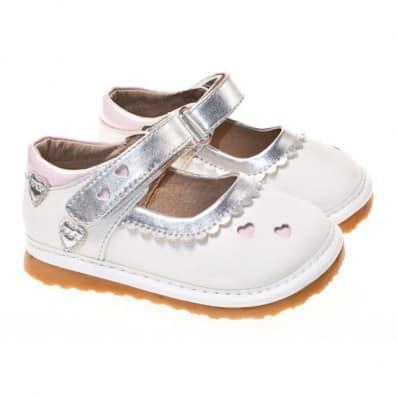 Little Blue Lamb - Chaussures à sifflet | Babies blanche petits coeurs rose