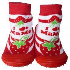 Hausschuhe - Socken Baby Kind geschmeidige Schuhsohle Mädchen | Große Erdbeere