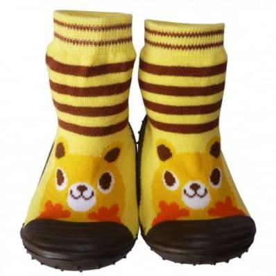 Calcetines con suela antideslizante para niños | Animal amarillo