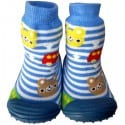 Baby boys Socks shoes with grippy rubber | White and blue