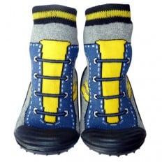 Calcetines con suela antideslizante para niños   Zapatilla de deporte amarilla y azul
