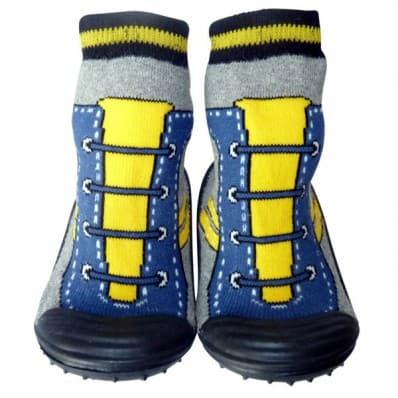 Chaussons-chaussettes enfant antidérapants semelle souple | Basket jaune bleu