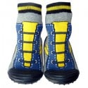 Baby boys Socks shoes with grippy rubber | Blue and yellow sneakers