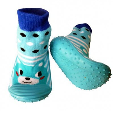 Baby boys Socks shoes with grippy rubber | Blue animal