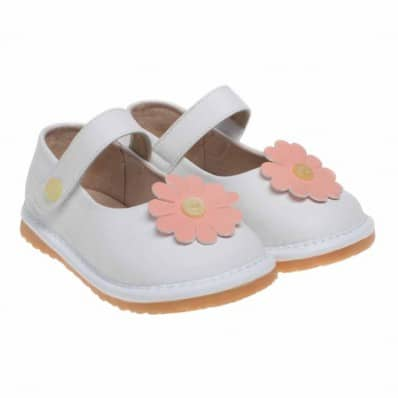 Little Blue Lamb - Krabbelschuhe Babyschuhe squeaky Leder - Mädchen | Babies weiß große rosa Blume