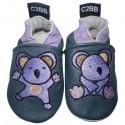 Chaussons bébé cuir souple | Koala brodé