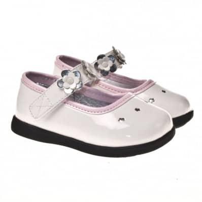 Little Blue Lamb - Zapatos de suela de goma blanda niñas | Rosa blanca ceremonia
