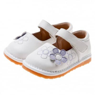 Little Blue Lamb - Zapatos de cuero chirriantes - squeaky shoes niñas | Flor blanca y morada