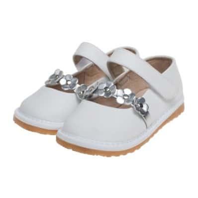 Little Blue Lamb - Chaussures à sifflet | Babies blanche fleurs argentées