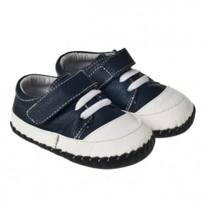 Little Blue Lamb - Baby boys first steps soft leather shoes | White blue boat