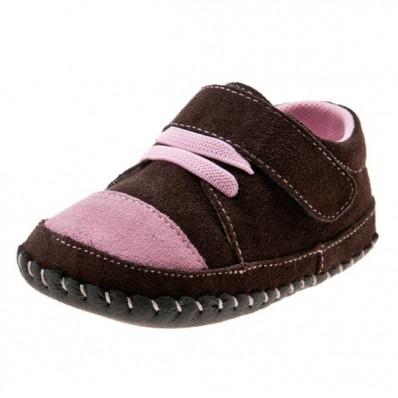 Little Blue Lamb- Baby girls first steps soft leather shoes | Brown and pink sneakers