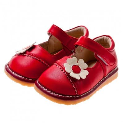 Little Blue Lamb - Squeaky Leather Toddler Girls Shoes | Red with pink flower