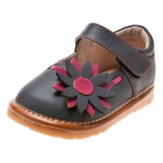 Little Blue Lamb - Squeaky Leather Toddler Girls Shoes | Babies dark grey