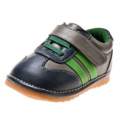 Little Blue Lamb - Squeaky Leather Toddler boys Shoes | Grey green strip sneakers