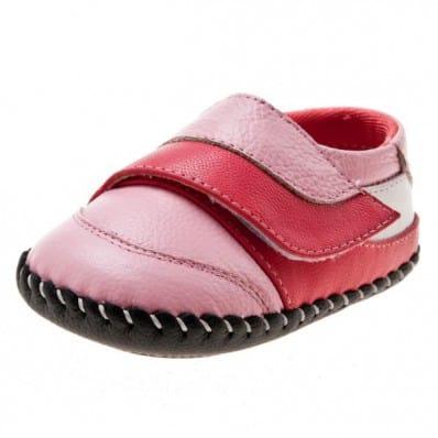 Little Blue Lamb - Zapatos de bebe primeros pasos de cuero niñas | Estilo colegial rosas velcro rosa