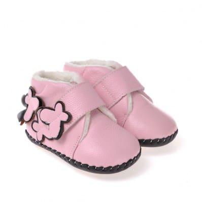 CAROCH - Chaussures premiers pas cuir souple | Montantes fourrées rose