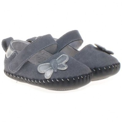 Little Blue Lamb - Baby girls first steps soft leather shoes | Grey butterfly
