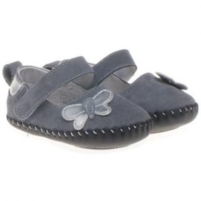 Little Blue Lamb - Chaussures premiers pas cuir souple | Papillon gris