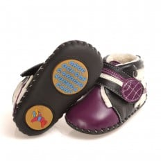 CAROCH - Baby girls first steps soft leather shoes | Purple filled bootees little dog