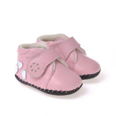 CAROCH - Chaussures premiers pas cuir souple | Montantes fourrées rose 3 coeurs