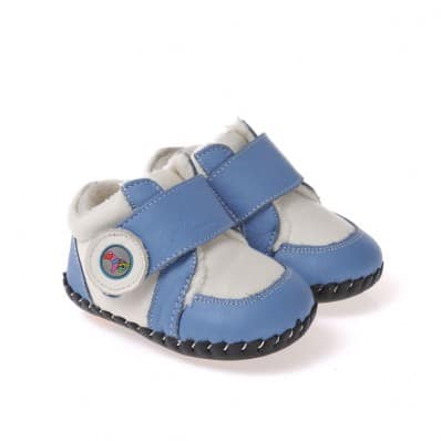 CAROCH - Baby boys first steps soft leather shoes | Blue and white filled sneakers