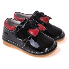 CAROCH - Squeaky Leather Toddler Girls Shoes | Black babies with red heart