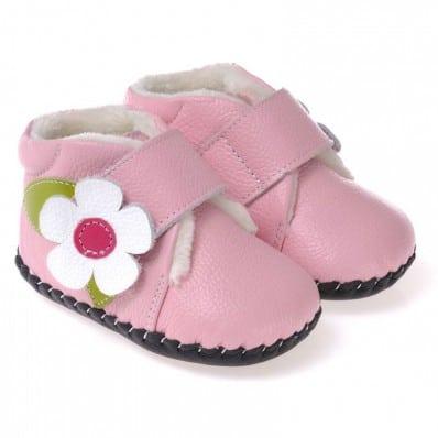 CAROCH - Chaussures premiers pas cuir souple | Montantes fourrées rose fleur blanche