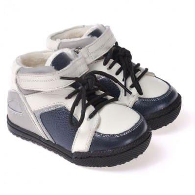 CAROCH - Krabbelschuhe Babyschuhe Leder - Jungen   Grau und blau gefüllte stiefel
