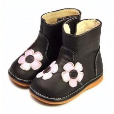 FREYCOO - Zapatos de cuero chirriantes - squeaky shoes niñas | Botas marrones flores rosa