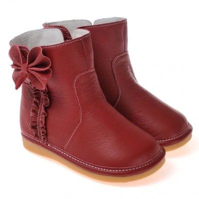 CAROCH - Krabbelschuhe Babyschuhe squeaky Leder - Mädchen | Rot gefüllte stiefel