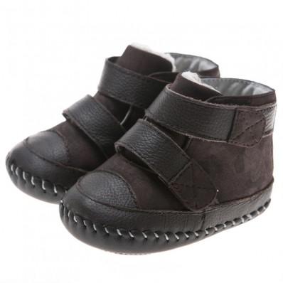 Little Blue Lamb - Chaussures premiers pas cuir souple | Bottines fourrées marron