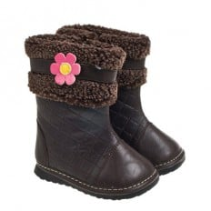 Little Blue Lamb - Squeaky Leather Toddler Girls Shoes | Brown winter boots with pink flower