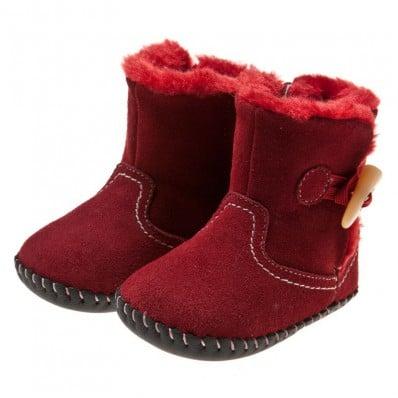 Little Blue Lamb - Chaussures premiers pas cuir souple | Bottines velours rouge
