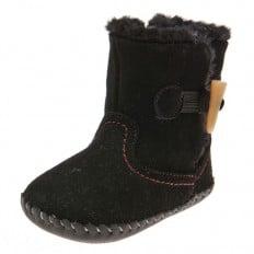 Little Blue Lamb - Chaussures premiers pas cuir souple | Bottines velours noir