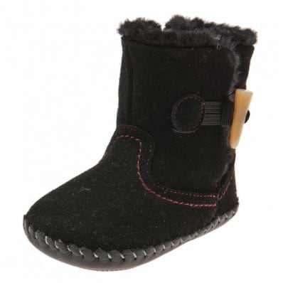 Little Blue Lamb - Baby girls first steps soft leather shoes   Black velvet bootees