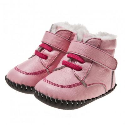 Little Blue Lamb - Chaussures premiers pas cuir souple   Montantes rose lacets fushia