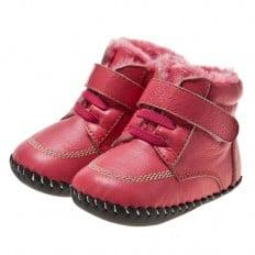 Little Blue Lamb - Chaussures premiers pas cuir souple | Montantes rouge lacets fushia