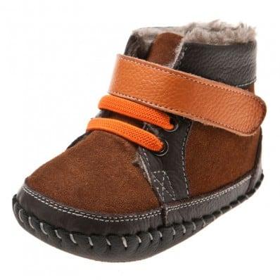 Little Blue Lamb - Zapatos de bebe primeros pasos de cuero niños | Botines forradas castaña gris