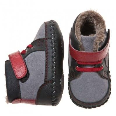 Little Blue Lamb - Zapatos de bebe primeros pasos de cuero niños | Botines forradas gris rojo