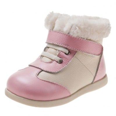 Little Blue Lamb - Chaussures semelle souple | Montantes blanc et rose