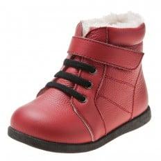 Little Blue Lamb - Zapatos de suela de goma blanda niñas | Botines rojas