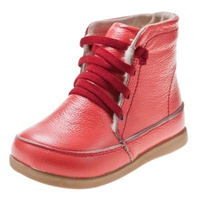 Little Blue Lamb - Chaussures semelle souple | Bottes saumon lacets rouge
